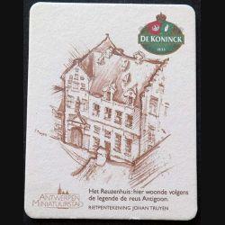 DESSOUS DE VERRE A BIÈRE : Dessous de verre à bière De Koninck Antwerpen minatuurstad de dimension 9 x 11,5 cm