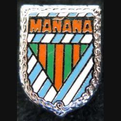 MANANA : insigne métallique en réduction type pin's des associations d'évadés de France internés en Espagne de fabrication Ballard 15 x 12 mm