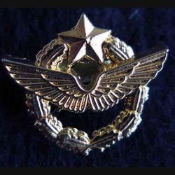BREVET AIR : insigne métallique en réduction type pin's de brevet de pilote de l'armée de l'Air de fabrication Ballard Collection 22 x 18 mm doré à l'or fin