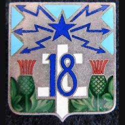 18° régiment de transmissions en émail dos strié argenté