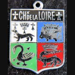 ancien blason en émail des chateaux de la Loire 23X31 mm avec anneau