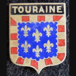 BLASON TOURAINE : insigne métallique ancien blason en émail de la Touraine 18 x 22mm