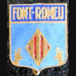 blason en émail de la ville de Font-Romeu 14 x 18 mm épingle