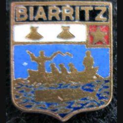 blason en émail de la ville de Biarritz 11 x 13 mm