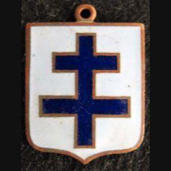 blason en émail croix de Lorraine 23 x 30 mm anneau suspension