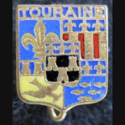 Blason en émail de la Touraine 11 x 14 mm avec épingle