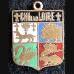 blason émail châteaux de la Loire 23 x 31 mm doré