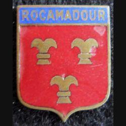 blason en émail de la ville de Rocamadour 18 x 22 mm