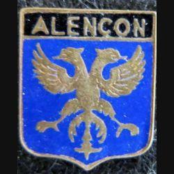 Blason en émail de la ville d'Alençon 11 x 13 mm doré