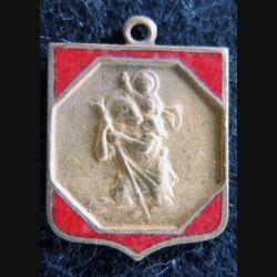 Blason en émail rouge de Saint Christophe 14 x 19 mm