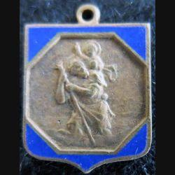 Blason en émail bleu de Saint Christophe 14 x 19 mm