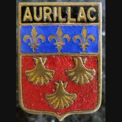 Blason en émail de la ville d'Aurillac 13 x 18 mm épingle