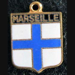 Blason en émail de la ville de Marseille 12 x 16 mm anneau