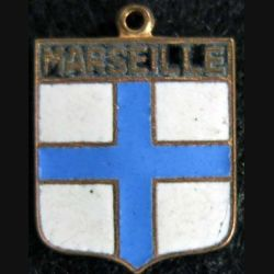 Blason en émail de la ville de Marseille 14 x 19 mm anneau
