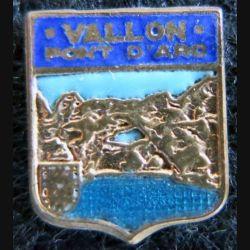 Blason en émail de Vallon-Pont-d'Arc 11 x 14 mm doré