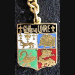 blason émail châteaux de la Loire 14 x 19 mm doré chainette