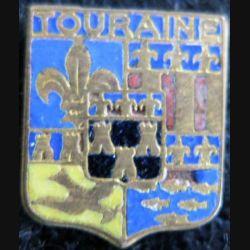 Blason en émail de la Touraine 11 x 14 mm doré