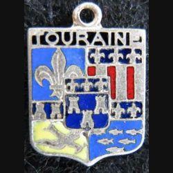 Blason en émail de la Touraine 11 x 16 mm argenté anneau