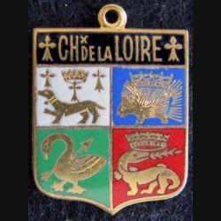 Blason émail châteaux de la Loire 14 x 19 mm doré