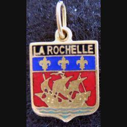 Blason en émail de la ville de La Rochelle 11 x 16 mm anneau maillon