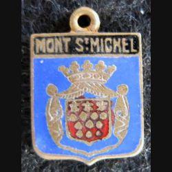 Blason en émail de la ville du Mont St Michel 22 x 30 mm cuivré anneau