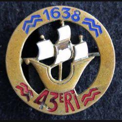 43° régiment d'infanterie Arthus Bertrand Paris Déposé en émail