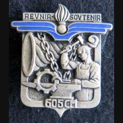 605° CM :  Insigne métallique de la 605° compagnie de magasin Drago Paris H. 748 émail épingle cassée