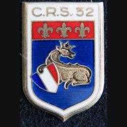 CRS 32 : insigne en argent de la compagnie républicaine de sécurité n° 32 de fabrication Drago Béranger