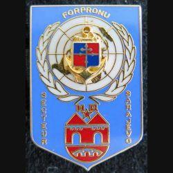 9° DIMA : insigne métallique du HQ Secteur SARAJEVO FORPRONU 4° mandat de fabrication Balme Saumur