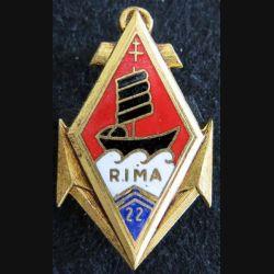 22° RIMA : insigne du 22° régiment d'infanterie de marine de fabrication Drago H. 186 en émail
