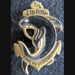 21° RIC : insigne en métal peint du 21° régiment d'infanterie coloniale de fabrication locale Indochine moulage
