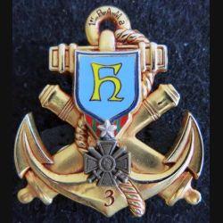 1° RAMa : insigne métallique de la 3° batterie du 1° régiment d'artillerie de marine de fabrication J.Y Ségalen 1997
