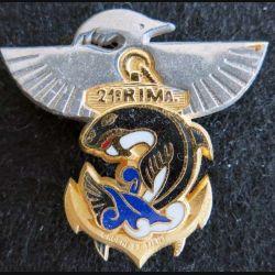 21° RIMA : insigne métallique du 21° régiment d'infanterie de marine en Nouvelle Calédonie de fabrication Balme Saumur