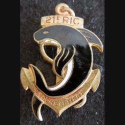 21° RIC : insigne métallique du 21° régiment d'infanterie coloniale de fabrication Drago Béranger déposé émail