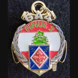 1° RAMA : insigne métallique du 1° régiment d'artillerie de marine FINUL 2  GA 4 fabrication Delsart