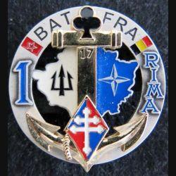 1° RIMA : insigne du 1° régiment d'infanterie de marine BAT FRA 17 au Kosovo