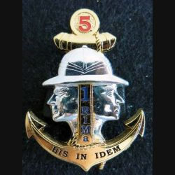 1° RIMA : insigne du 5° escadron du 1° régiment d'infanterie de marine de fabrication Arthus Bertrand