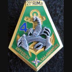 21° RIMA : insigne métallique de la 4° compagnie du 21° régiment d'infanterie de marine SALAMANDRE Boussemart