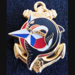 21° RIMA  : insigne métallique du 21° régiment d'infanterie de Marine au Kosovo Y.Boussemart