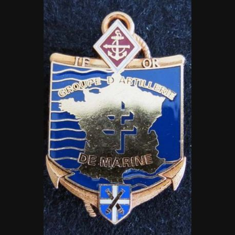 1° RAMA : insigne métallique du groupe d'artillerie de marine  IFOR avec 40° R.A fabrication Delsart