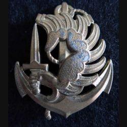 PARA : insigne de béret des troupes parachutistes aéroportées des troupes de marine de fabrication Drago G. 1535 en métal doré
