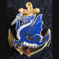 8° RPIMA : insigne du 8° régiment parachutiste d'infanterie de marine Boussemart dragon bleu