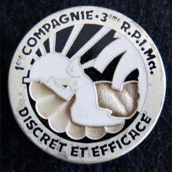 3° RPIMA : insigne métallique de la 1° compagnie du 3° régiment parachutiste d'infanterie de  marine  Boussemart