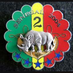 1° RHP : insigne métallique du 2° escadron du 1° régiment de hussards parachutistes Sénégal 2004 Boussemart