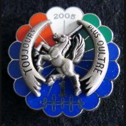 1° RHP : insigne métallique du 1° escadron du 1° régiment de hussards parachutistes Licorne 2005 Y.B
