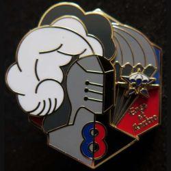 1° RCP : insigne métallique de la 8° compagnie du 1° régiment de chasseurs parachutistes de fabrication Bpussemart 2016