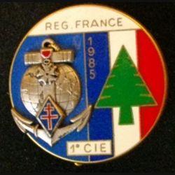 1° RIMA : insigne métallique de la 1° compagnie du 1° régiment d'infanterie de marine à la FINUL en 1985 de fabrication Fraisse