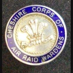 Insigne de boutonnière anglais du CHESHIRE CORPS OF AIR RAID WARDENS WW2 2° guerre mondiale de fabrication Butt Chester (L 24)