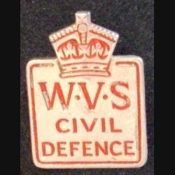 insigne type broche anglais du WOMEN'S VOLUNTARY SERVICE FOR CIVIL DEFENSE de hauteur 2,9 cm (L 24)