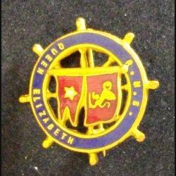 Insigne anglais type broche du R.M.S QUEEN ELISABETH en émail de diamètre 2,7 cm (L 24)